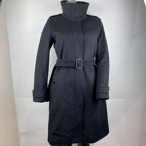 Burberry authentic women's virgin wool and cashmere tailored black coat size 10